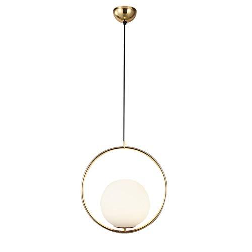 1-Light Indoor Ceiling Sphere Pendant, runde moderne Leuchte mit White Globe Glass Lampenschirm, Messing poliert -
