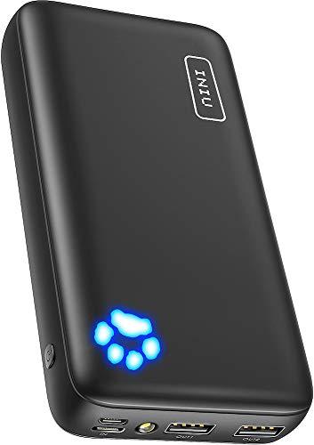 INIU Powerbank, 20000mAh Power Bank, Tragbar Externer Akku mit Type C & Micro USB Eingängen, Dual 3A High-Speed Ausgänge, Akkupack für iPhone 11 Xs X 8 Samsung Galaxy S10 Note 10 iPad