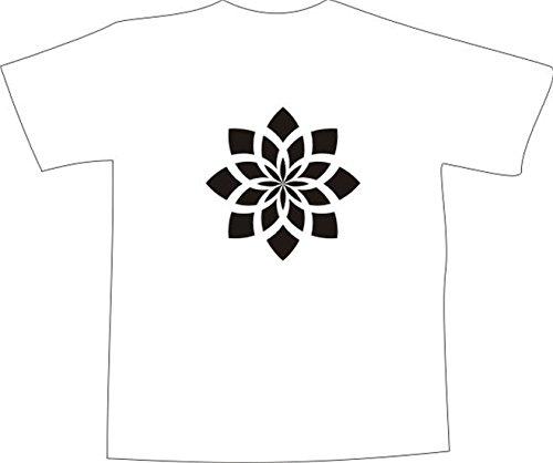 T-Shirt E271 Schönes T-Shirt mit farbigem Brustaufdruck - Logo / Grafik - minimalistisches Motiv - Ornament Seerose / Blume Weiß