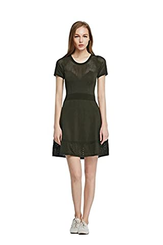 Good dress Slim thin knit hollow dress,black,M