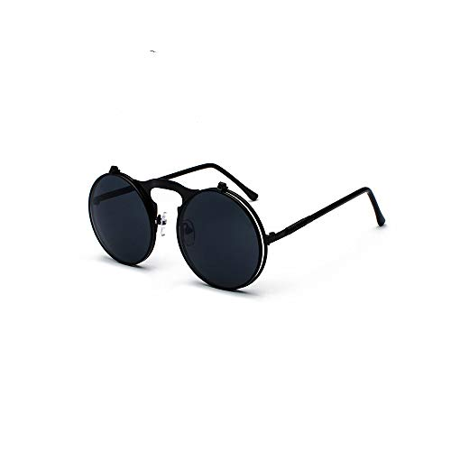 MINGW Steampunk Flip Sunglasses Round Metal Frame Sun Glasses for Men Women Circle Glasses Oculos