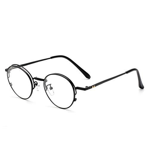 Chengduaijoer Metall Retro runde Brille Rahmen Nicht verschreibungspflichtige Brille für Frauen, Männer (Color : Black)