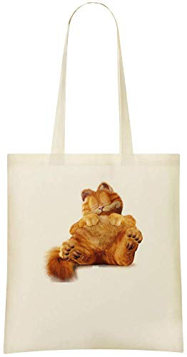 Garfield Lazy - Garfield Lazy Custom Printed Shopping Grocery Tote Bag 100% Soft Cotton Eco-Friendly & Stylish Handbag For Everyday Use Custom Shoulder Bags -