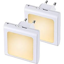 Anpro 2 × Luz Nocturna Infantil Enchufe,Led LED en Blanco Cálido para Pasillos, Dormitorios, Habitaciones Bebé y Niño, Cocinas, Escaleras,Lámpara Pared con Sensor Automático de Crepúsculo a Amanecer