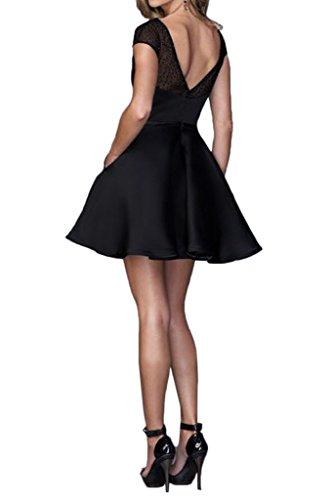 ivyd ressing robe facile courte aermel Satin & tuell Prom Party robe robe du soir Schwarz