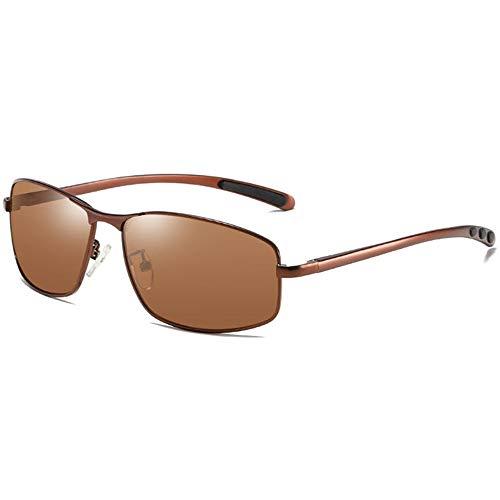 WULE-Sunglasses Unisex New Square Metal Anti-Glare UV400 Sonnenbrille Brown Frame Brown Lens Herren Polarized Driving Sonnenbrille