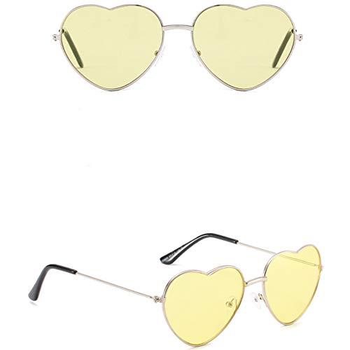 EUCoo Sonnenbrillen Unisex PersöNlichkeit SchöN Bunte Metall Herz Trend Lustiger Hip Hop Brille(D)
