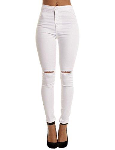 Yidarton donna ginocchio strappato sexy skinny jeans delle donne pantaloni a vita alta legging (s, bianca)