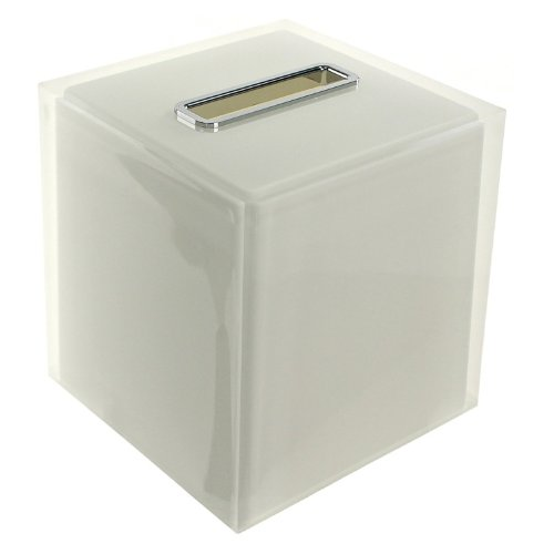 Gedy Rainbow Thermoplastic Resin Square Tissue Box Cover, White -
