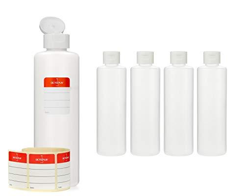 Octopus 5 x 250 ml Kunststoffflaschen, HDPE Plastikflaschen mit weißem Klappverschluss, Leerflaschen mit weißem Scharnierverschluss, Rundflaschen inkl. Beschriftungsetiketten - Koffer Octopus