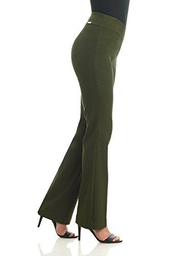 Rekucci Damen Seien Sie in Komfort bekleidet schmale Bootcut-Hose Olivgrün