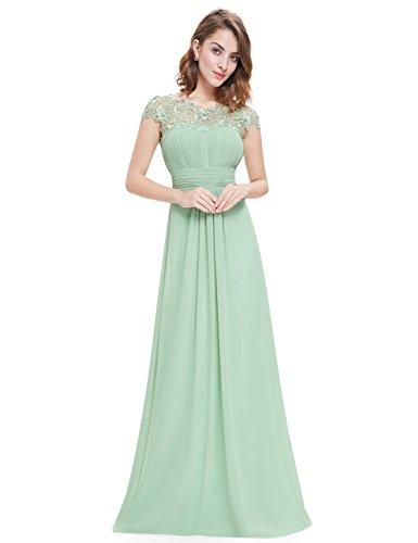 Ever Pretty Damen A-Linie Abendkleid Spitze Festliches Kleid Frauen Zeremonie Lange Mint Grün 44 - Mint Frauen Grün-kleid Für