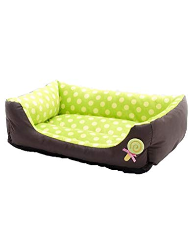 Waschbar Haustierbett für Hund Katze Haustier Rechteck Welpen Kissen Sofa Körbe Hundebett Grün M -