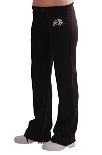Eyecatch - Décontracté Femmes Graphiques Joggeurs Jogging Survêtement Pantalons Noir avec Fushia