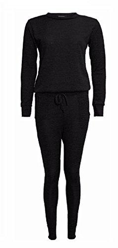 AHR Ltd@–Tuta da donna, casual, tinta unita, pantaloni lunghi e maglia a maniche lunghe Black