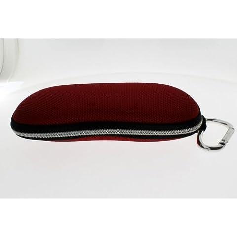 Teen style Custodia rossa per gli occhiali da vista o di lettura-Custodia con moschettone