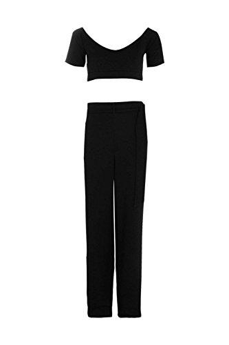 Noir Femmes Ciara Circle Ring Culotte & Crop Co-ord Set Noir