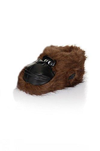 Erwachsene Weich 3D Animal Pantoffeln Bruno Galli zum Reinschlüpfen Bequem Neuheit Schuhwerk Dunkelbraun Gorilla