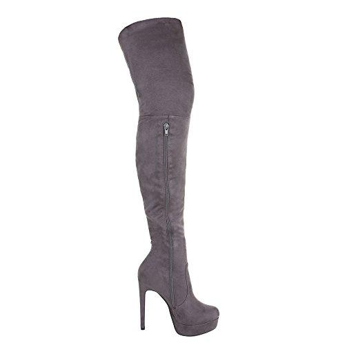 Overknee Stiefel Damenschuhe Klassischer Stiefel Pfennig-/Stilettoabsatz High Heels Reißverschluss Ital-Design Stiefel Grau