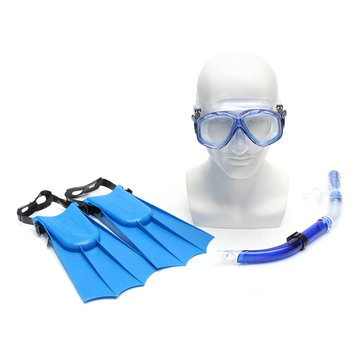 Generic Kid Snorkel Mask Scuba Goggles + Breathing Tube+ Webbed Feet Swimming Diving Set