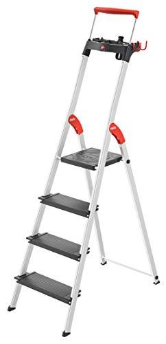 Hailo 8050-407 L100 TopLine Alu-Sicherheits-Stehleiter, mit Multifunktions-Schale, Sicherheits-Haltebügel, Plattformverriegelung und 130 mm extra tiefe Stufen, schwarz
