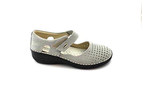 GRUNLAND INES SC1400 cemento grigio scarpe donna comfort ballerine cinturino strappo Grigio