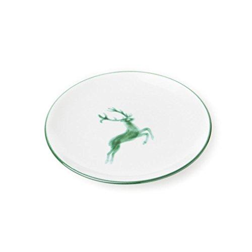 GMUNDNER KERAMIK Dessertteller Cup   Durchmesser : 20 cm   grüner Hirsch   Geschirr, handgemacht in Österreich