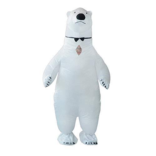 MIMI KING Erwachsene Aufblasbare Eisbären-Kostüm, Halloween-Weihnachten Fancy Kleid Blow Up Kostüm