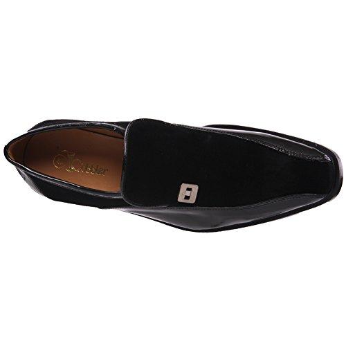 Unze Hommes Cuir 'Prof' Office Party slipons Chaussures Noir