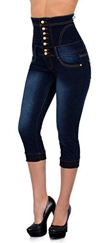 by-tex Damen Jeans Capri Hose Skinny Damen Capri High Waist Jeans Hose Hochbund J350 (Denim Skinny Capris)