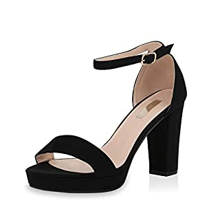SCARPE VITA Damen Pumps Riemchensandaletten Plateau Sandaletten Elegante Sommer Party Schuhe Wildleder-Optik High Heels 170680 Schwarz 40