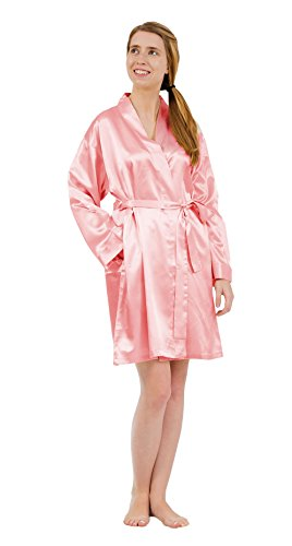 Fashion Up2date Damen Satin Charmeuse Bademantel Style #Gwn-11 - Pink - X-Large -