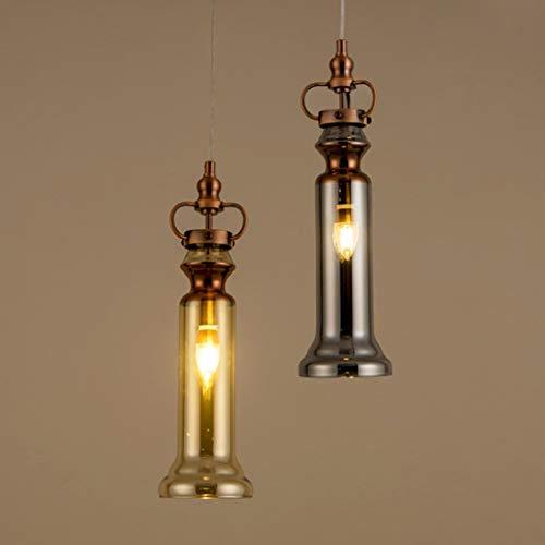 DEED Einfache Moderne persönlichkeit lampen, Retro kronleuchter e14 * 1 Lampe Nordic Glas pendelleuchte Metall deckenleuchte kreative leuchten bühne dekorative Lichter,B - Bernstein Metall-stehlampe