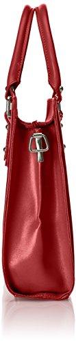 Borsa a cartella da donna con manici, modello italiano, Vera Pelle 100% Made in Italy Rosso