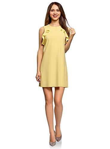 Mod Party-kleid (oodji Ultra Damen Gerade Geschnittenes Kleid mit Volants und Unbearbeitetem Saum, Gelb, DE 38 / EU 40 / M)