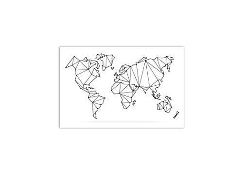 Va-Store - Lienzo diseño Mapa Mundo Abstracto, Blanco