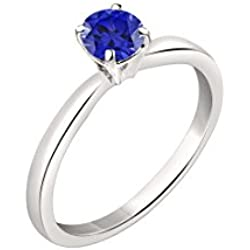Silver Dew Blue Sapphire Sterling-Silver Ring For Women & Girls