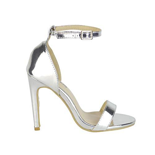 BeMeesh Damen Damen Stiletto High Heel Knöchelriemen Sandalen Pumps Peep Toe Schuhe Damen Stiletto
