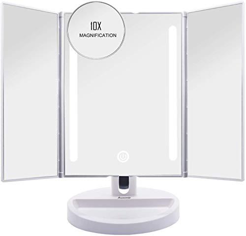 Auxent Kosmetikspiegel mit LED Beleuchtung und Touchscreen aus Kristallglass und ABS Kunststoff, Tischspiegel Schminkenspiegel Beleuchtet mit Blendfreier Bleuchtung für Wohnzimmer, Kosmetikstudio, Spa und Hotel