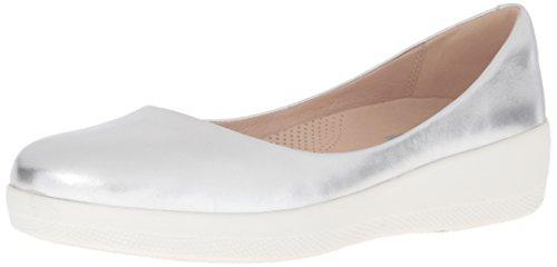 Couro Fitflop Sapatos Super-bailarina Prata