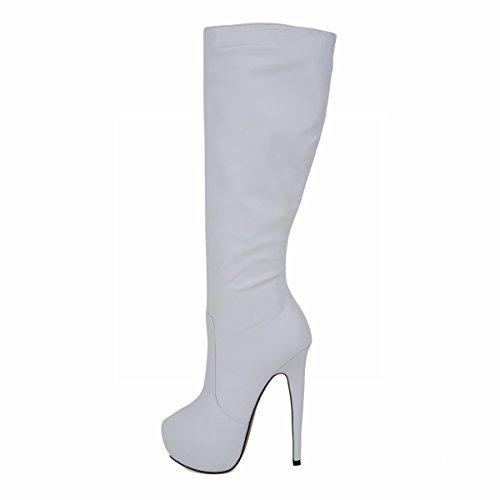 HooH Femmes Round-toe Platform Stiletto Plus Genou Boots Blanc