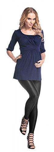 Happy Mama Femme maternité jolie top t-shirt grossesse tunique grossesse 940p Marine