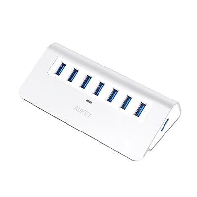 AUKEY Hub USB 3.0 Alimenté 7 Ports en Aluminium avec Alimentation 30W, Câble USB 1m et Indicateur LED, USB Hub pour transfert de données 5Gbps Compatible avec Windows, Mac OS- Argent par AUKEY