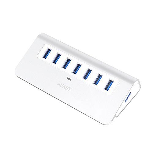 AUKEY Hub USB 3.0 7 Puertos con Adaptador de Corriente Alta Velocidad de Transmisión de Aluminio con Cable USB 3.0 Compatible con Windows XP / Vista / 7 / 8 / Linux y Mac, etc