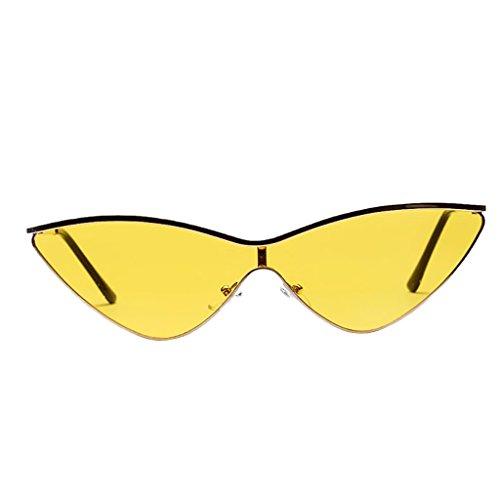 Preisvergleich Produktbild Baoblaze Sommer Frauen Männer Moderne Spiegel Katzenaugen Dreieck Plastik Rahmen Sonnenbrille Brille Damensonnenbrille Herrensonnenbrille - Gelb
