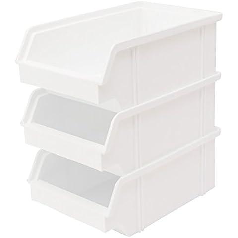 Lantelme 3936 10 pcs di folla - contenitore - Box, SCATOLE impilabili impilabile in plastica colore bianco, vista schieramenti nischenmarkt di produzione tedesca