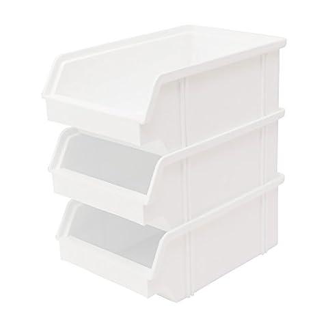 10 Stück Set Stapel - Aufbewahrungs - Box . Stapelboxen Stapelbar Farbe weiß aus Kunststoff . Sichtlagerkasten aus Deutscher Herstellung