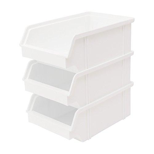 Preisvergleich Produktbild 10 Stück Set Stapel - Aufbewahrungs - Box . Stapelboxen Stapelbar Farbe weiß aus Kunststoff . Sichtlagerkasten aus Deutscher Herstellung