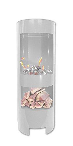 Preisvergleich Produktbild BBT@ Metall Gelkamin Säule / 1 Meter hoch / Weiss / Mit extra Holzfach / Breite: 37cm / Höhe: 100 cm / Tiefe: 35 cm / Heizleistung ca 3,5 Kw / Pulverbeschichtetes Metall / Inkl 3 Brennstoffbehälter / Einfache Bedienung Sicherer Betrieb mit Brenngel oder Bioethanol Vormontiert Echtes Feuer Rauchfrei Keine Gerüche o. Dämpfe Kein Funkenflug