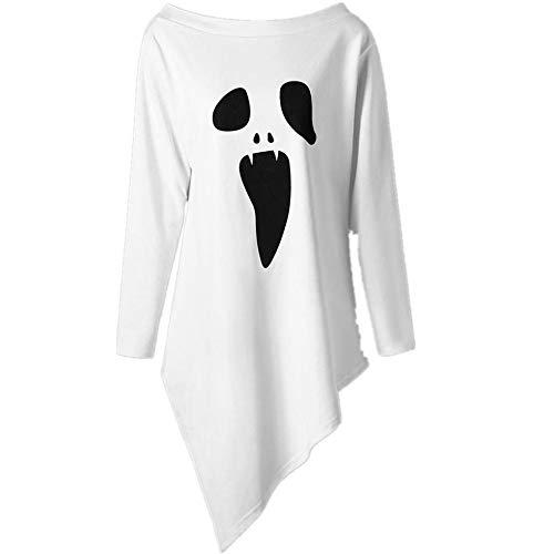 Lazzboy Halloween kostüm Damen Sweatshirt Pullover Bluse Geist Drucken Asymmetrisch Langarm Shirt Top (Weiß,34)